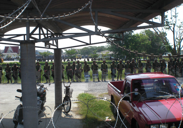 Thai soldiers protecting Abhisit at a Bangkok military base he fled to in March, 2010
