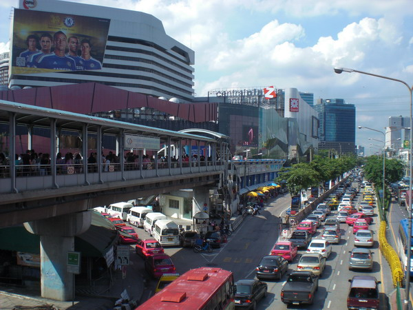 Part of Pahonyothin Road in Bangkok, with Central Ladprao shopping mall to the left