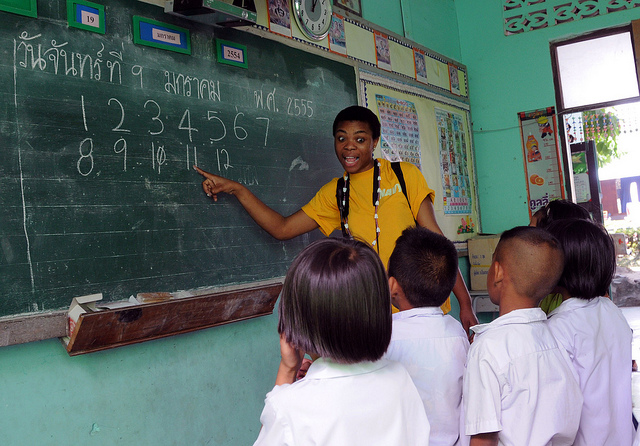 Teaching in a rural school in Thailand - copyright US Navy, Public Domain