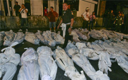 Some of the bodies that were pulled from the Santika fire in Bangkok
