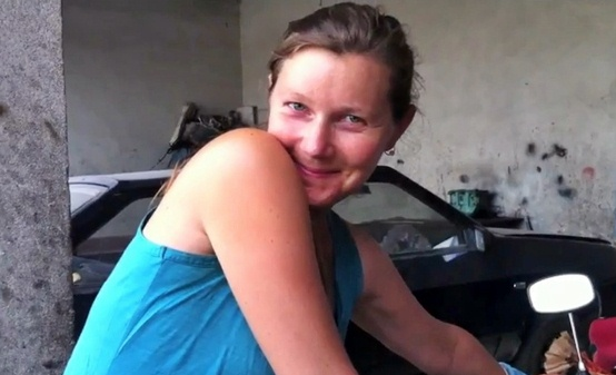 Cyclist Mary Thompson -- screenshot from the couples video 'Cycling Central Asia'