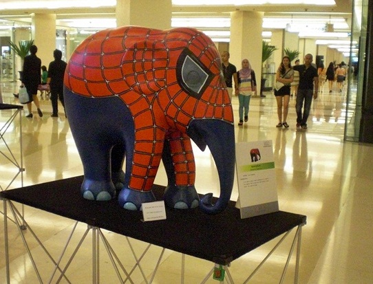The Spiderman elephant at Siam Paragon.