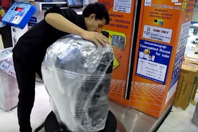 bangkok plastic wrapping luggage suvarnabhumi airport